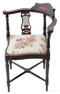 Edwardian Inlaid Mahogany Corner Chair Bedroom - Antiques ...