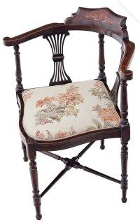 Edwardian Inlaid Mahogany Corner Chair Side Hall ...