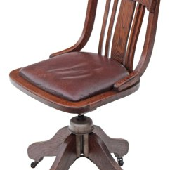 Swivel Chair No Castors Nice Covers Oak And Leather Desk Office - Antiques Atlas