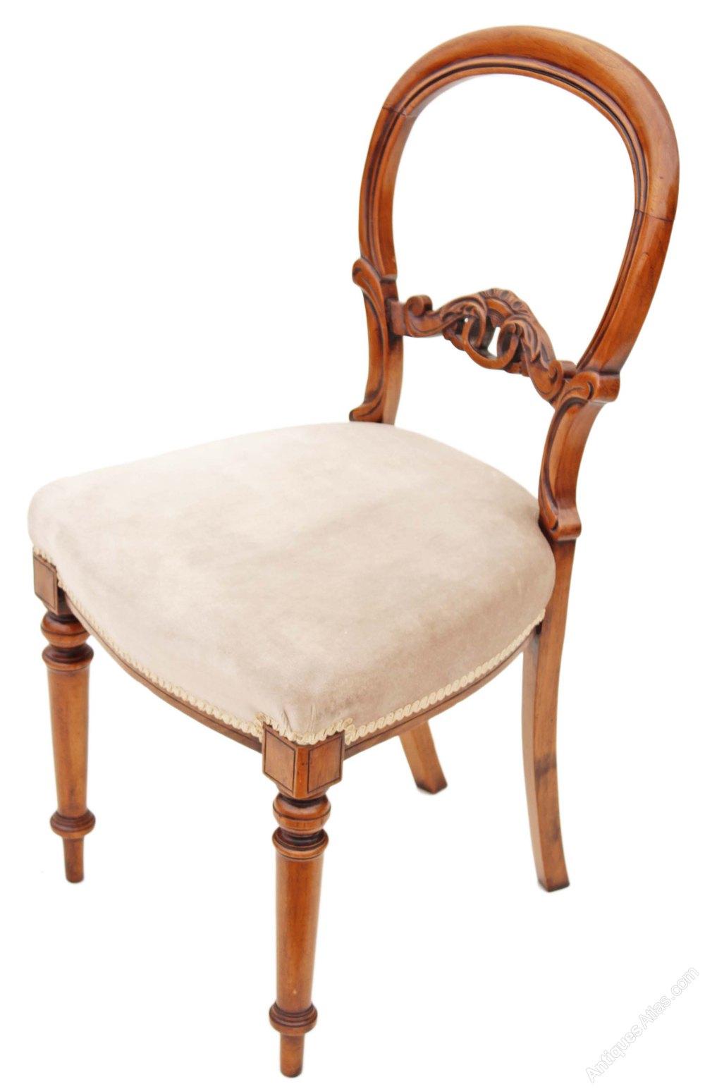 Set 6 Victorian Walnut Balloon Back Dining Chairs