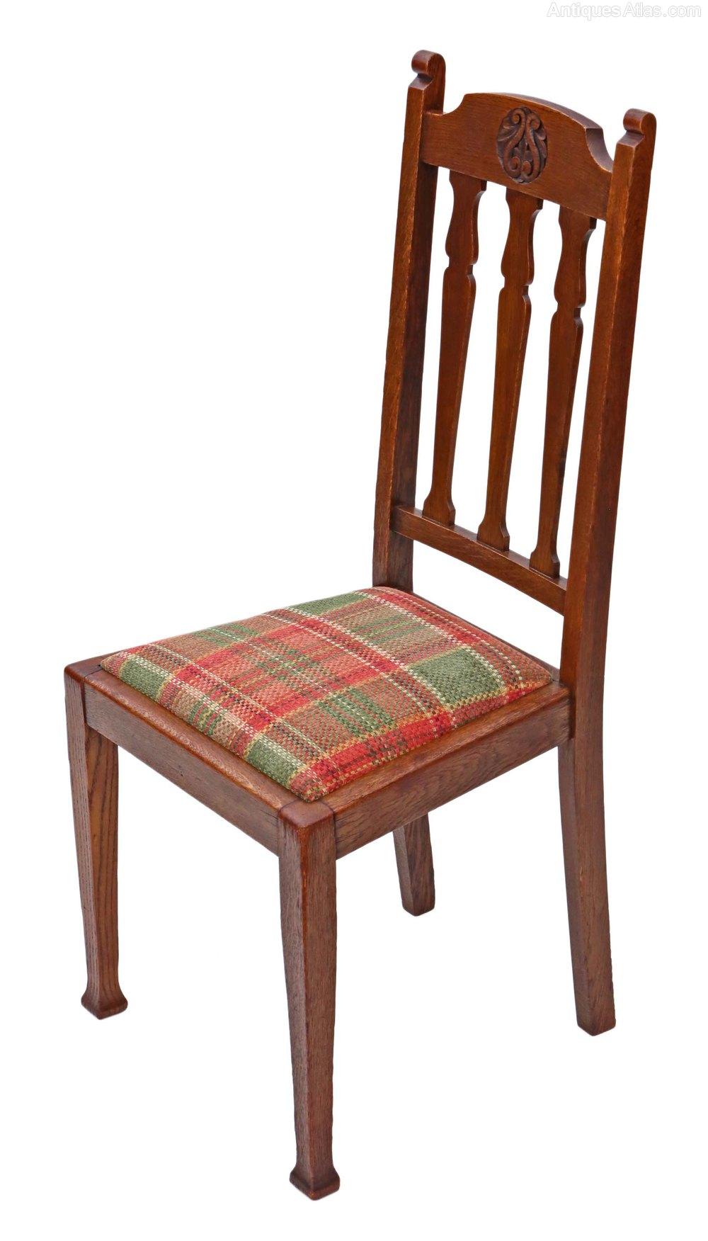 Set Of 4 Oak Dining Chairs Art Nouveau