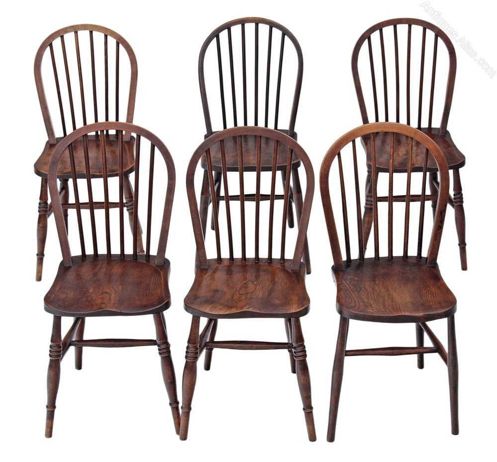 Set Of 6 Spindle Back Ash Kitchen Dining Chairs  Antiques