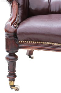 Victorian 19C Leather Library Chair Armchair - Antiques Atlas