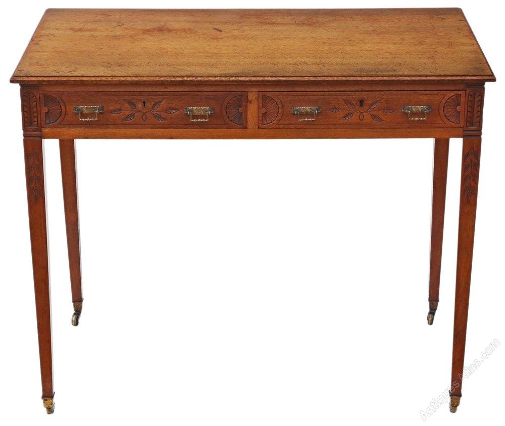 Victorian Carved Walnut Writing Desk Or Dressing