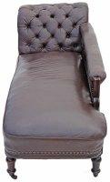 Victorian Leather Walnut Sofa Chaise Longue Settee ...