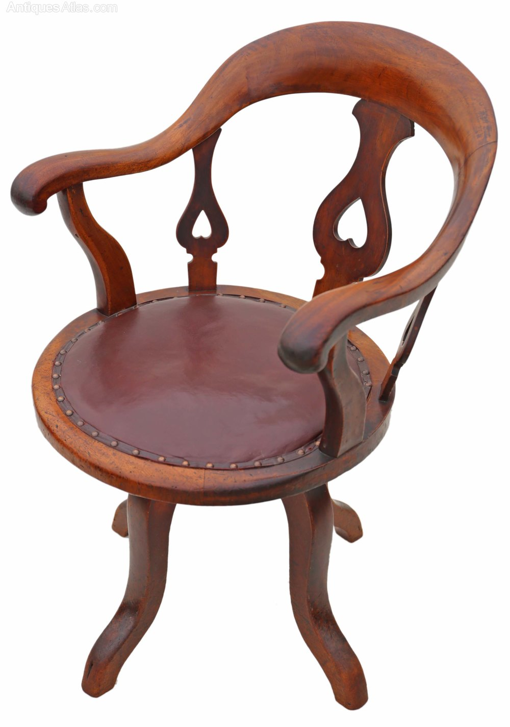 Victorian Mahogany & Leather Desk Office Chair
