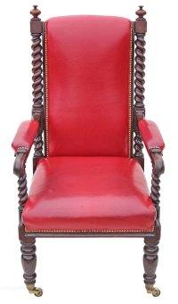 Victorian Oak Leather Armchair Throne Chair Carver ...