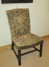Georgian Mahogany Upholstered Side Chair - Antiques Atlas