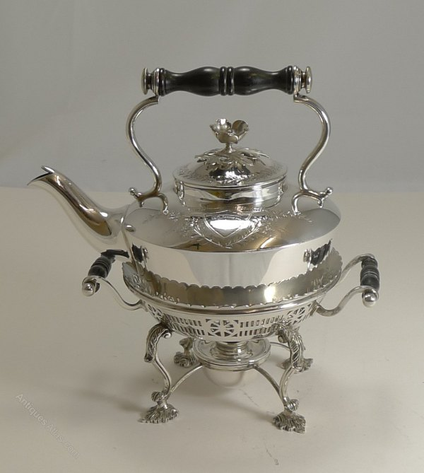 Antiques Atlas - Antique Silver Plated Kettle Stand 1900
