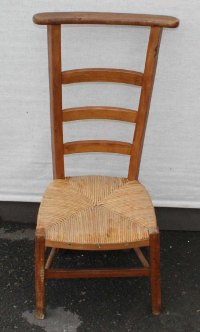 Antiques Atlas - 1940's Beech Prayer Chair With Rush Seat