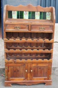 Antiques Atlas - Old Pine Cabinet With Wine Rack