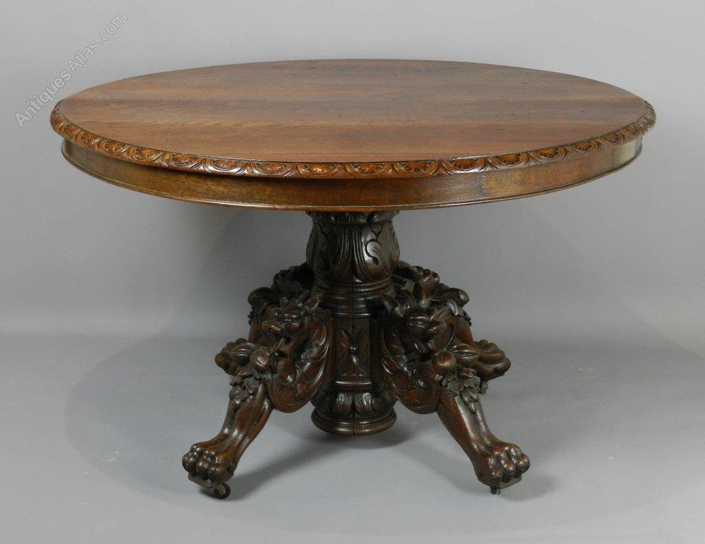 Antique French Carved Oak Hunt Table C1870  Antiques Atlas