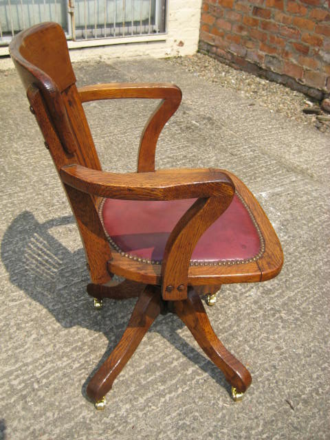 swivel chair no castors padded folding lawn chairs oak and tilt desk - antiques atlas
