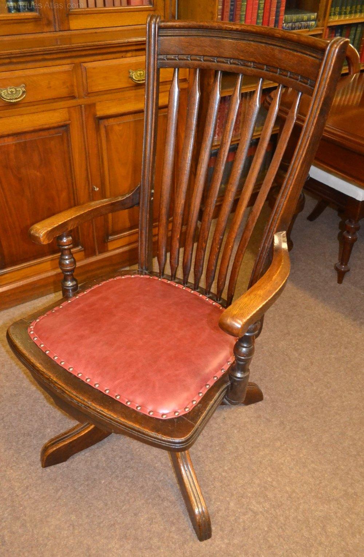 Oak Swivel Desk Chair C1900  Antiques Atlas