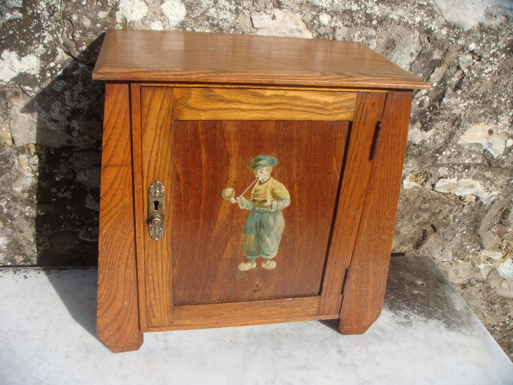 Arts  Crafts Oak Smokers Cabinet With Dutch Boy