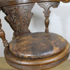 Revolving Chair Small Round Cushions 19th C Oak Ship's Swivel - Antiques Atlas