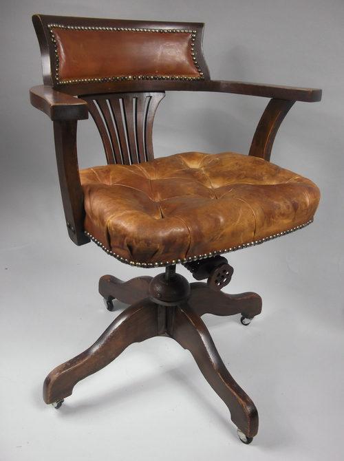 antique leather swivel desk chair kd smart tilt & or office c. 1910 - antiques atlas