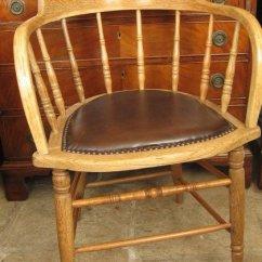 Victorian Occasional Chair Vintage Swivel Oak Desk Or Captains - Antiques Atlas