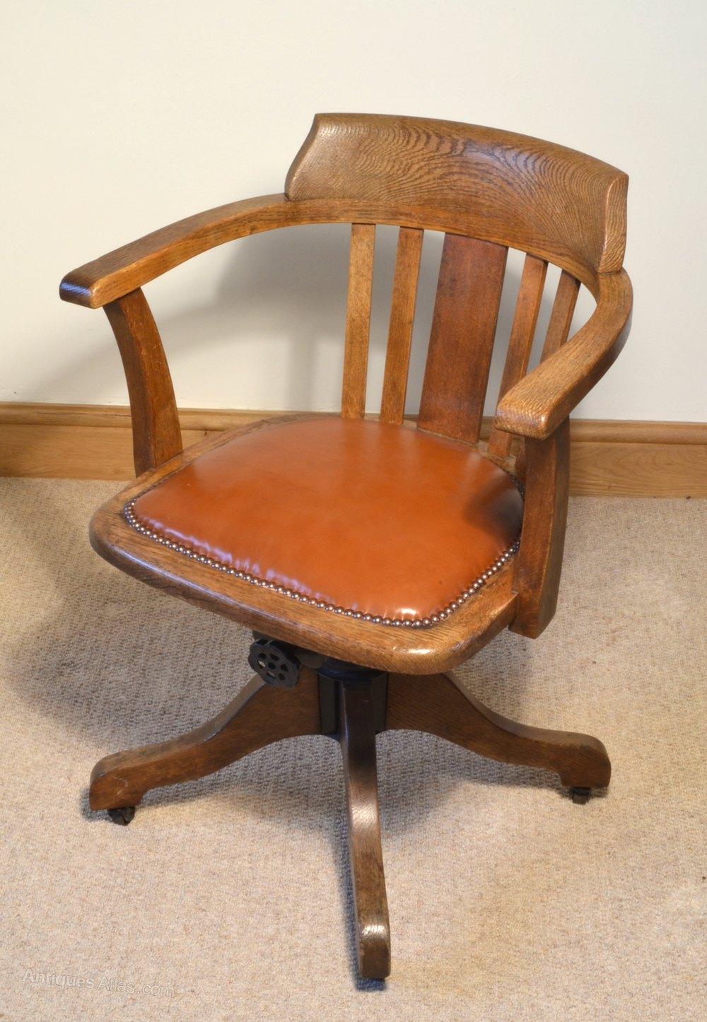 revolving chair mechanism office workout equipment 1930s oak swivel - antiques atlas
