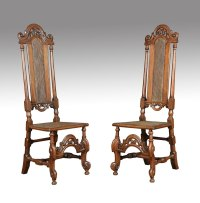 17th Century Walnut High Back Chairs - Antiques Atlas