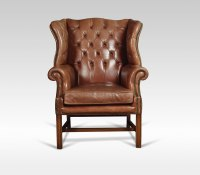 Leather Upholstered Wingback Armchair - Antiques Atlas