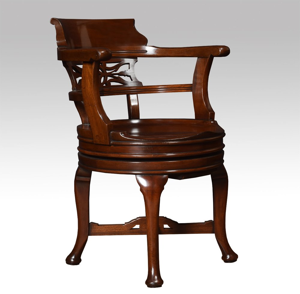 Mahogany Swivel Desk Chair  Antiques Atlas