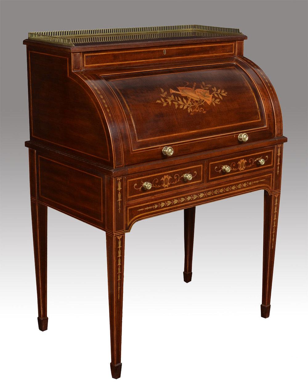 Victorian Mahogany Inlaid Cylinder Desk  Antiques Atlas