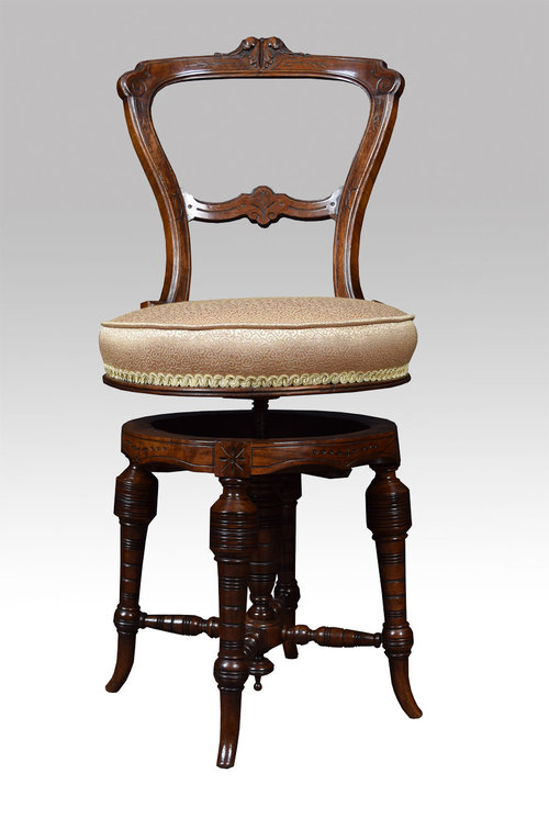 Victorian Walnut Revolving Dressing  Music Chair