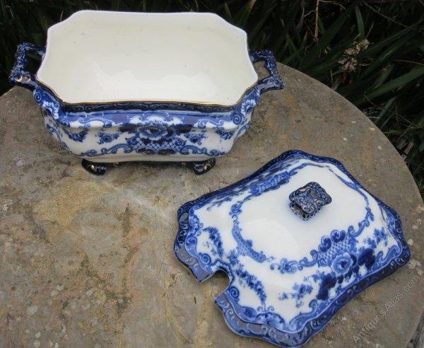 Antiques Atlas - Bishop & Stonier Flow Blue Soup Tureen C1900