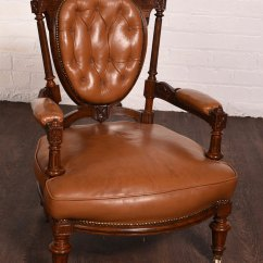 Victorian Occasional Chair Wingback Next Carved Walnut Leather Button Back - Antiques Atlas