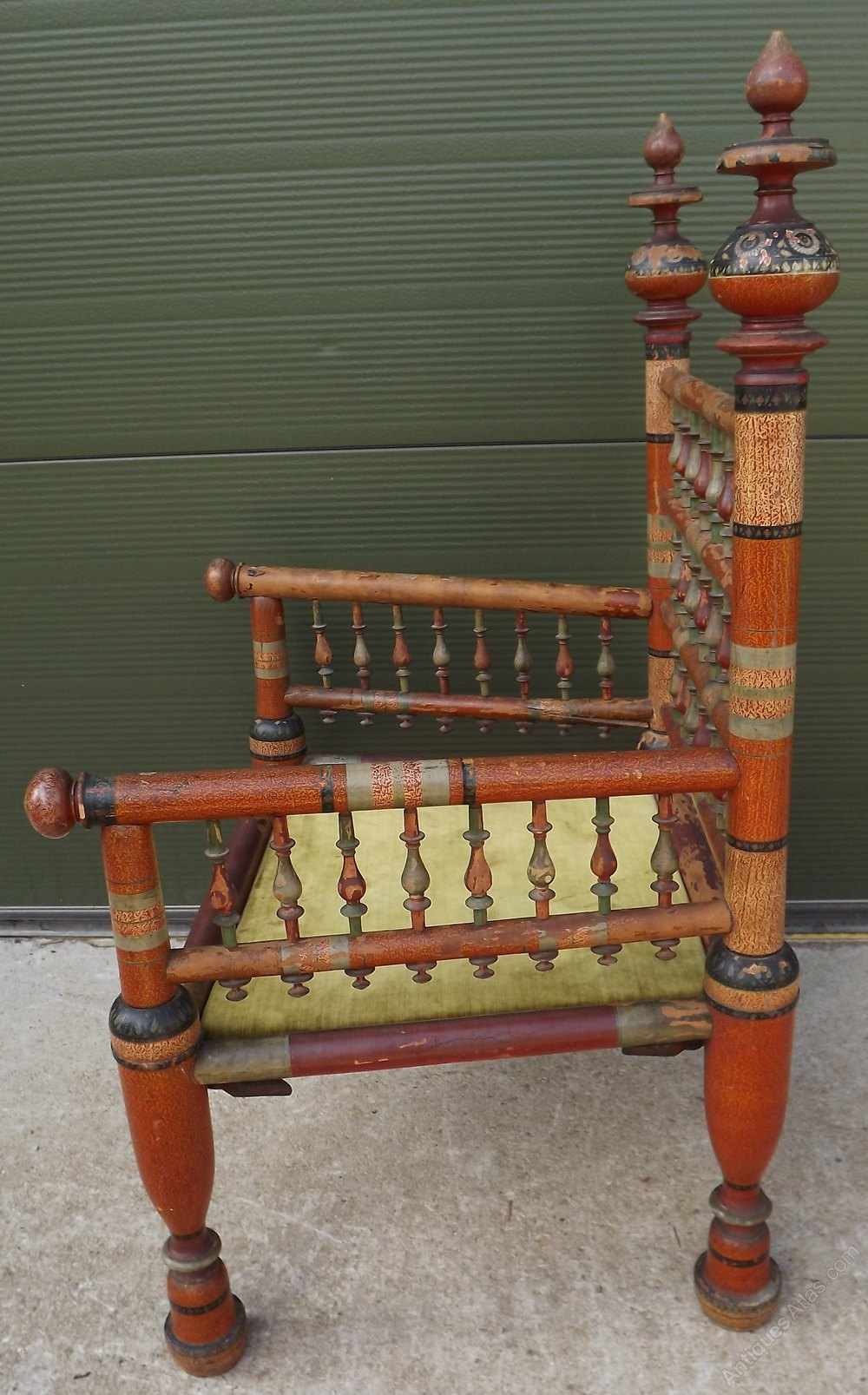 replacement chair spindles uk covers stretch vintage hand-painted wooden turkish armchair - antiques atlas