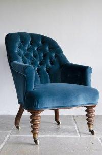 Antique Victorian Velvet ButtonBack Armchair - Antiques Atlas