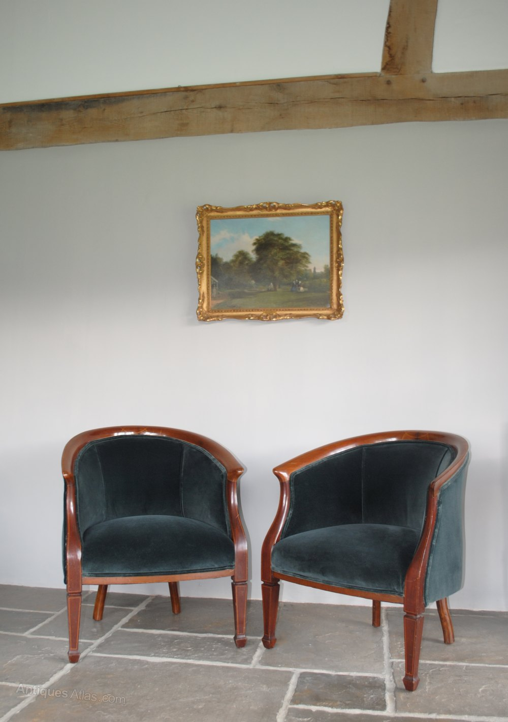Pair Of Antique Edwardian Tub Chairs Armchairs  Antiques
