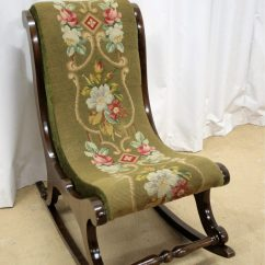 Antique Needlepoint Chair Small Bedroom No Arms Victorian Mahogany Rocking - Antiques Atlas