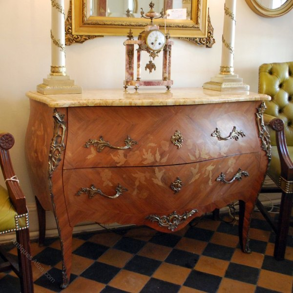 """French """"bombe"""" Chest Of Drawers With Marble Top - Antiques"""