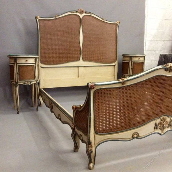 French Antique Cane Bed And Bedside Cabinets - Antiques Atlas