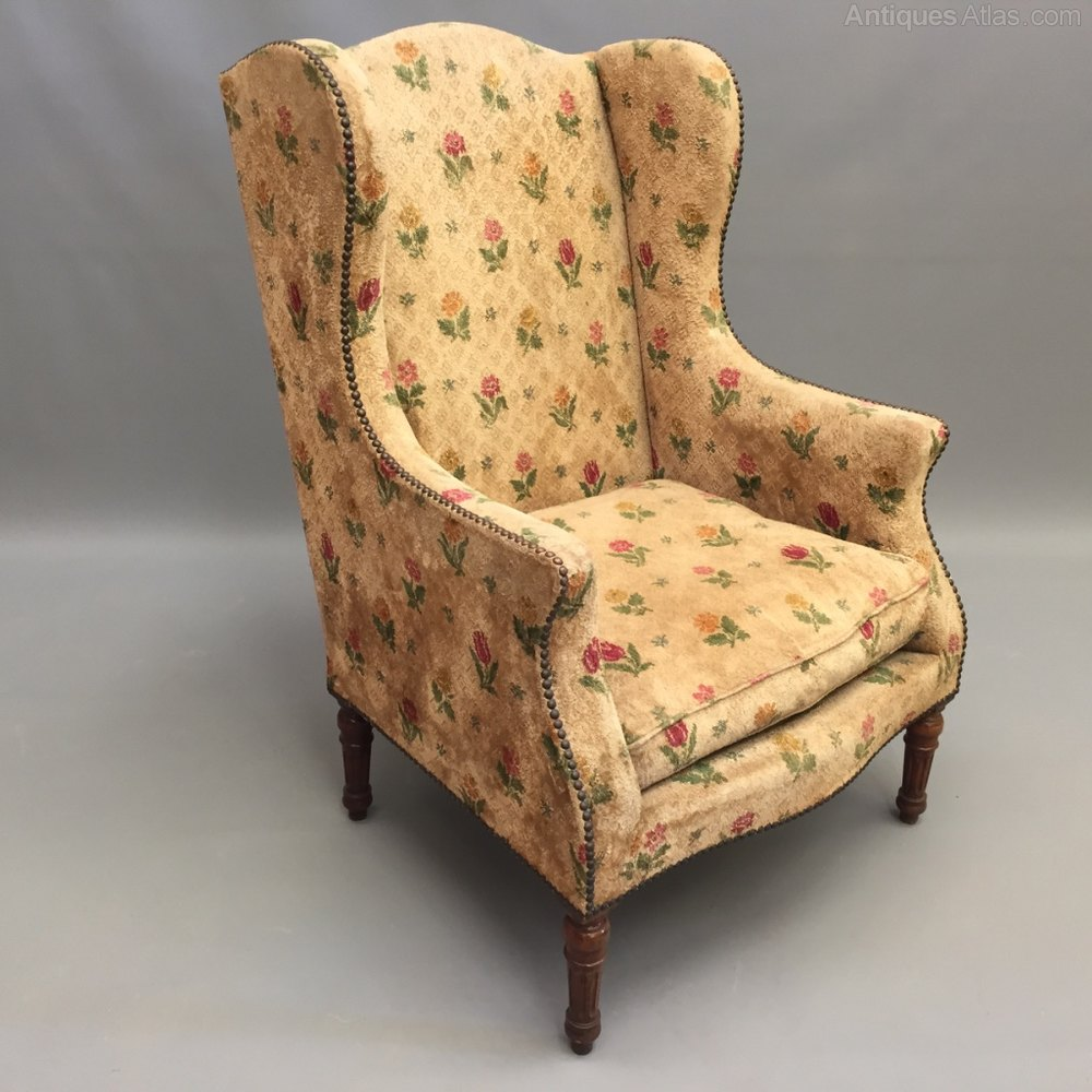 High Back French Wing Armchair  Antiques Atlas