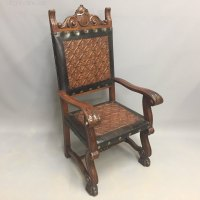 Pair Of Embossed Leather 'Throne' Chairs - Antiques Atlas