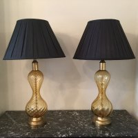 Antiques Atlas - Pair Of Amber Glass Table Lamps