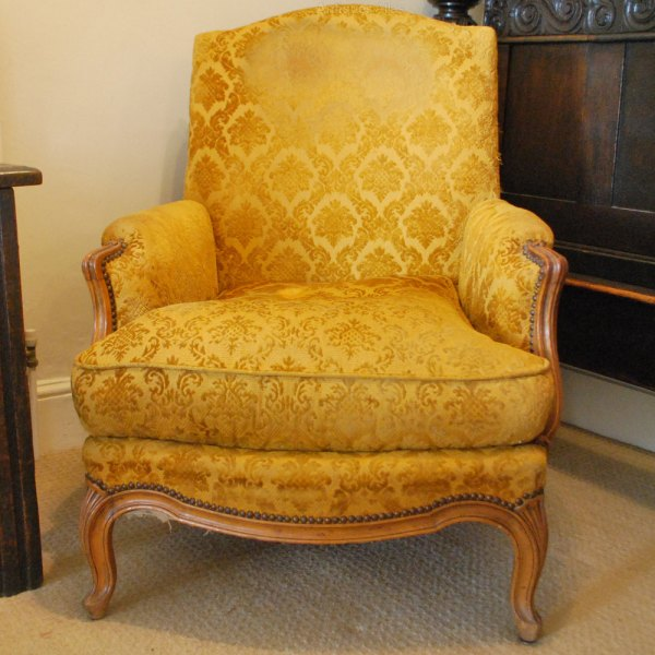 Pair Of Large French Armchairs, Louis Xv Style And ...