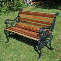 Reclaimed Cast Iron Teak 4ft 6in Garden Bench Seat ...