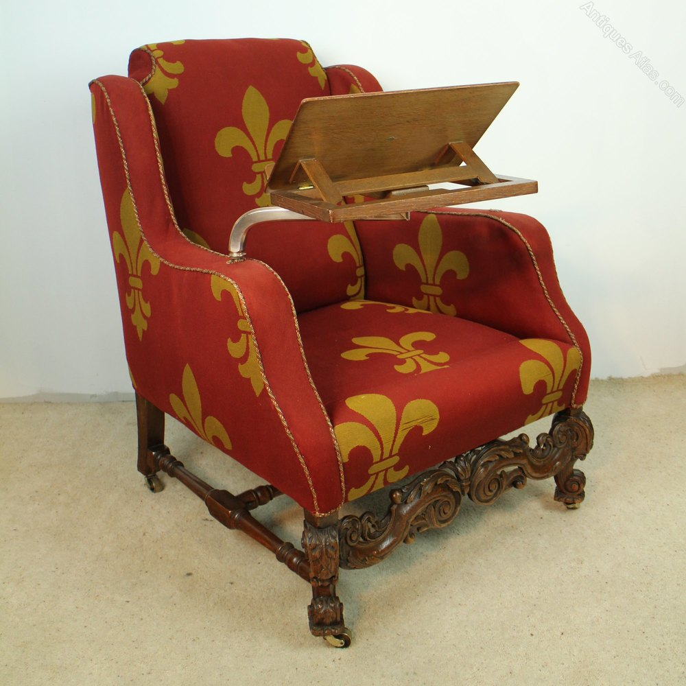 A 19th Century Carved Oak Wingback Reading Chair