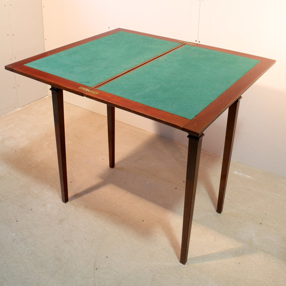 Edwardian Sheraton Style Mahogany Card Table  Antiques Atlas