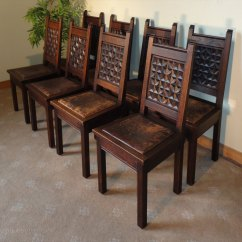 Cane Bottom Chairs Best Computer Chair Set Of 8 Oak & Leather Gothic/jacobean Country Dining - Antiques Atlas
