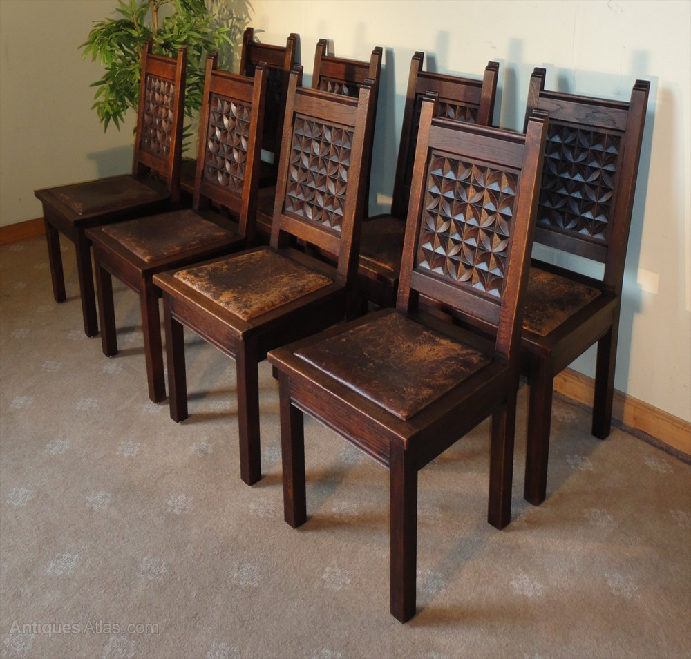 antique cane seat dining chairs la z boy chair and a half set of 8 oak & leather gothic/jacobean country - antiques atlas