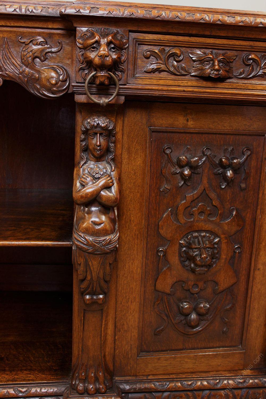 Antique Carved Oak Sideboard Server  Antiques Atlas