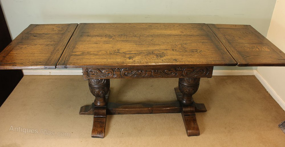 farmhouse kitchen tables cabinets to go antique oak refectory draw leaf dining table - antiques atlas