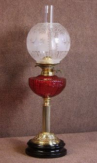 Antiques Atlas - Antique Victorian Cranberry Glass Oil Lamp