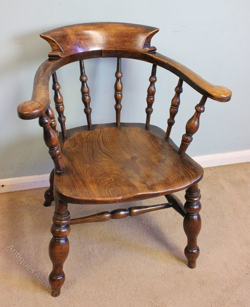 Antique Victorian Smokers Bow Captains Desk Chair