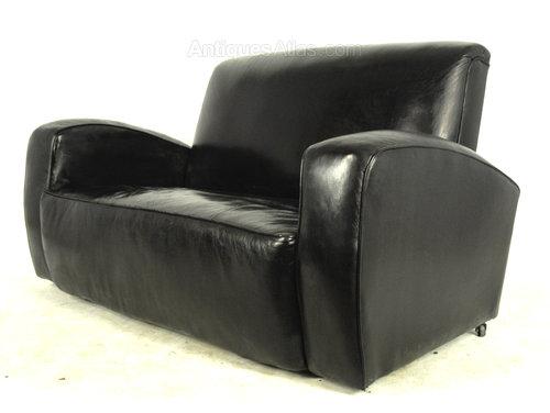 Art Deco Black Leather Club Sofa  Antiques Atlas